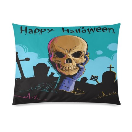 ZKGK Happy Halloween Skull Pillowcase 20 x 30 Inches Two Side,Zombie Hand Hold Dead Skull Home Pillow Cover Case Shams Decorative
