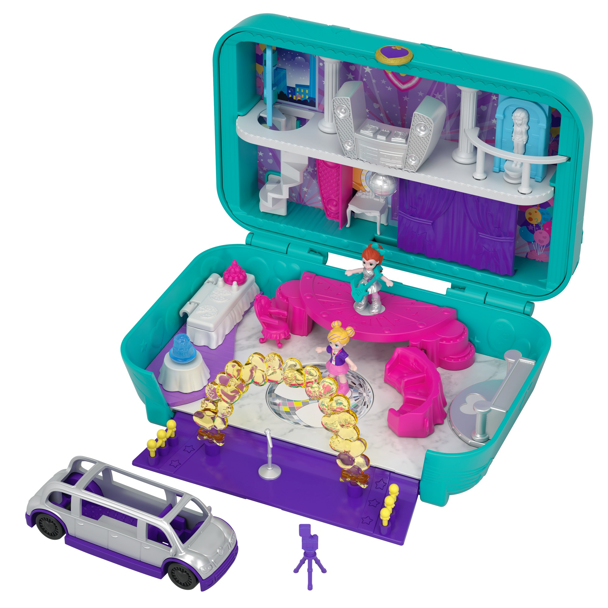 Polly Pocket Hidden Places Dance Par-taay! Case with Party Dolls and Accessories