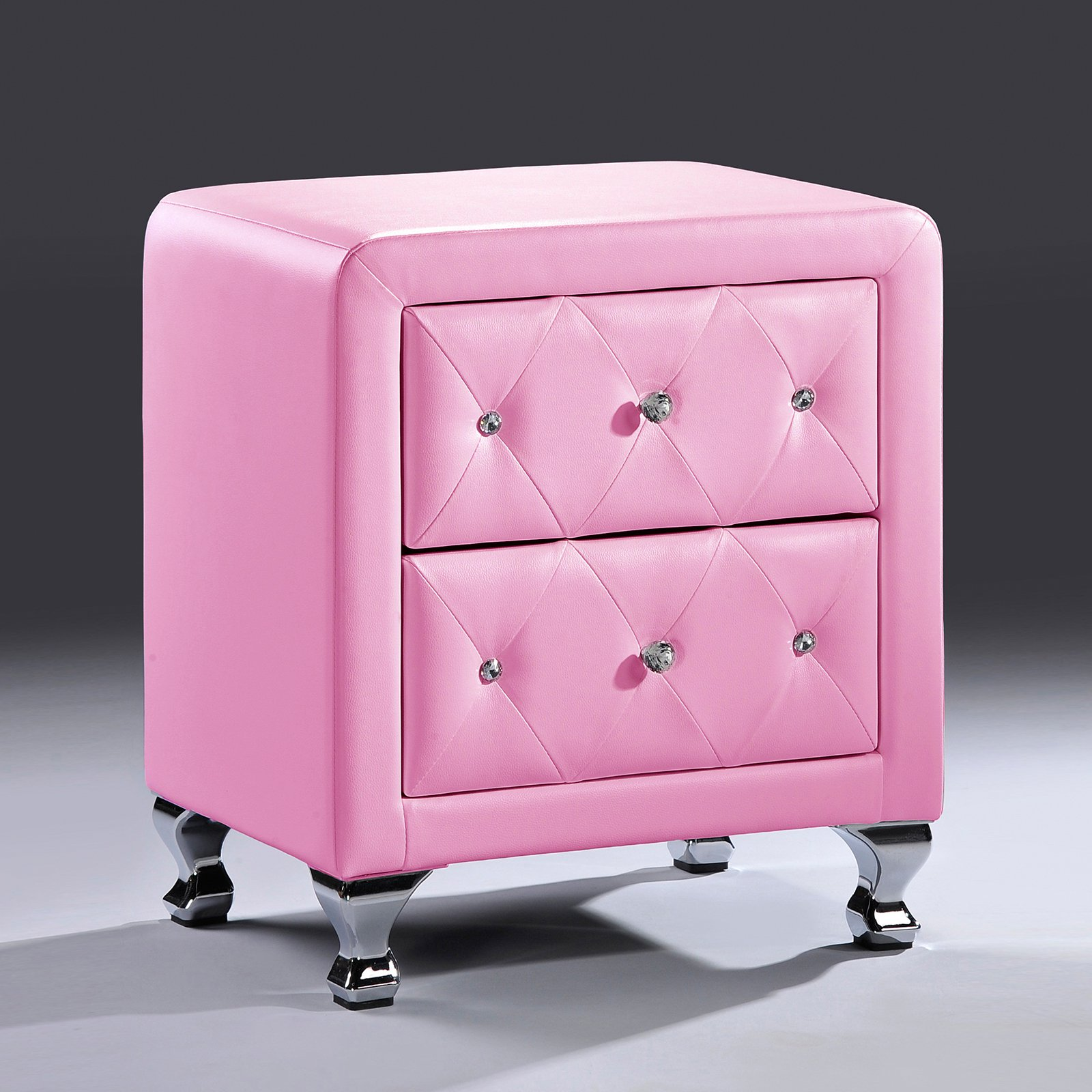 Stella Crystal Tufted Pink Leather Modern Nightstand