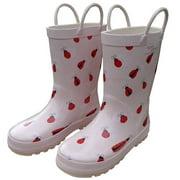 Pink Lady Bug Toddler Girls Rain Boots 5-10