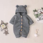 Binpure Newborn Baby Boy Girls Bear Ear Knit Romper Hooded Wool Sweater Jumpsuit Outfits