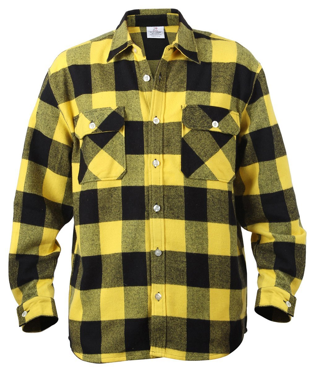 Rothco Extra Heavyweight Buffalo Plaid Flannel Shirts - Yellow Plaid, Large