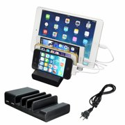 4-Port Multi USB Charging Stand Organizer Desktop Fast Charger Dock Universal Station for iPhones, for Samsung, for iPad, Tablets Smart Cell Phone and Other USB-Charged Devices