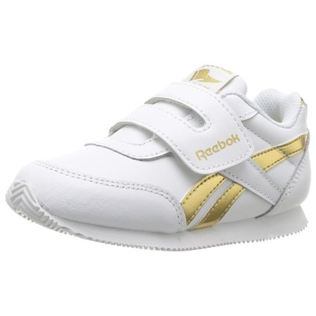 Jogging Shoes Review - Reebok BS8028: Toddler's Classic Jog 2.0 White/Gold Metallilc Sneakers