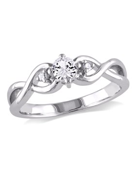 1/3 Carat T.G.W. Created White Sapphire and Diamond-Accent Sterling Silver Infinity Promise Ring