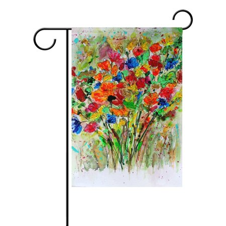 POPCreation Nature Spring Summer Autumn Winter Flower Seasonal Watercolor Decorative Garden Flag 12x18 Inches Abstract Art Floral Outdoor Welcome Flag Banner for Wedding Home Garden Decor ()