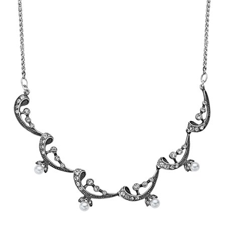 Victorian Pearl (Victorian Simulated Pearl Necklace with Swarovski Crystals in Sterling Silver )