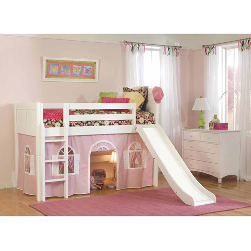 Bolton Furniture Cottage Twin Low Loft Bed with Lower Playhouse Curtain and Slide