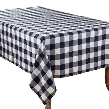 Fennco Styles Buffalo Plaid Collection Classic Checked Cotton Blend Tablecloth - Navy Blue 70 x70 Tablecloth for Banquets, Christmas, Special Events and Home Décor](Christmas Tables)