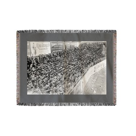 New York Giants Baseball Polo Grounds (Crowd at Polo Grounds, NY Giants, Baseball Photo #2 (60x80 Woven Chenille Yarn Blanket))