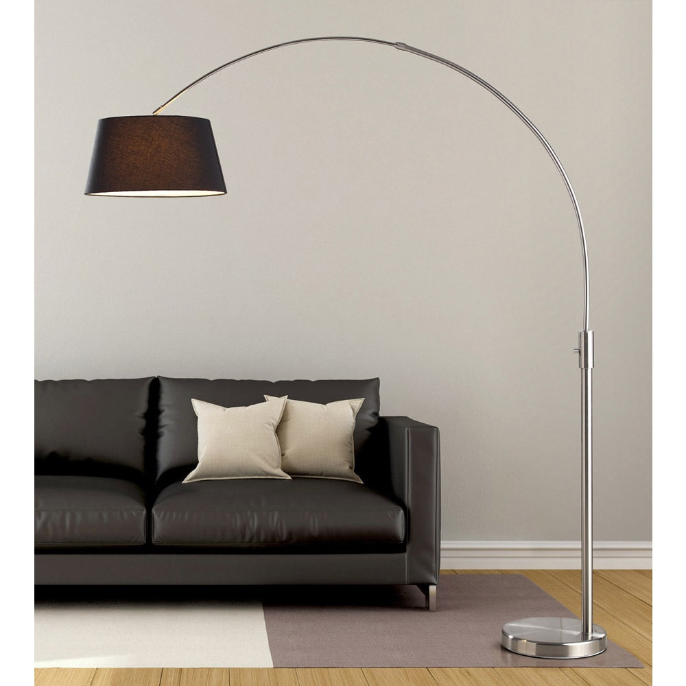 HomeTREND Orbita 82-inch Brushed Nickle Retractable Arch Floor Lamp with Dimmer, LED Bulb and Black Shade