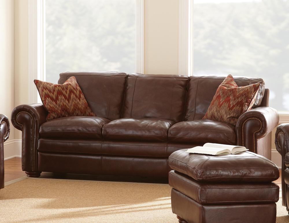 Steve Silver Yosemite Sofa In Chestnut Leather   Walmart.com