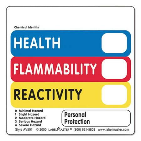 Lmt Av501 Warehouse Self Adhesive Label   Health  44  Flammability  44  Reactivity Vl