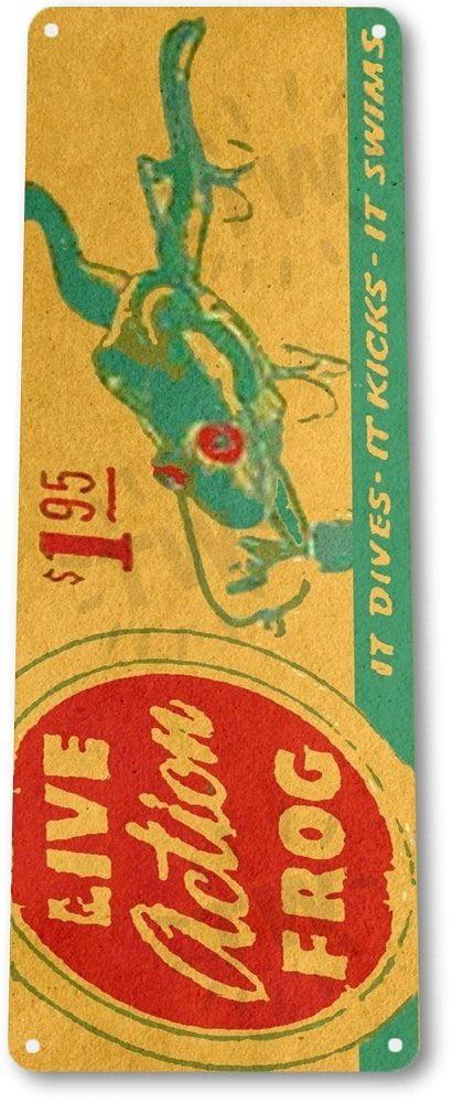 TIN SIGN B673 Live Action Frog Lures Fishing Bait Retro Box Rustic Fish Decor