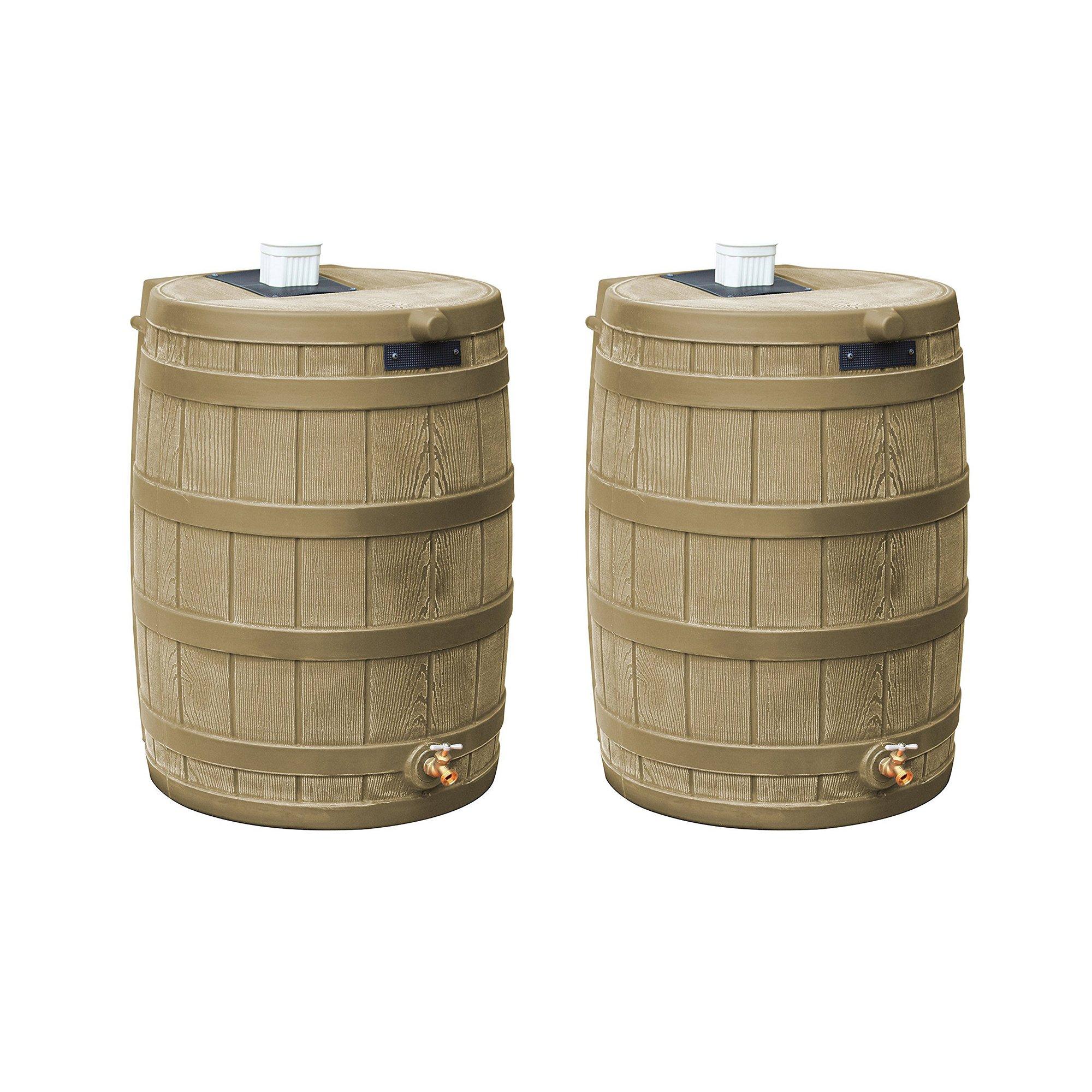 Good Ideas Rain Wizard 50 Gallon Plastic Water Collection Barrel, Khaki (2 Pack)