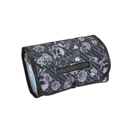 Harley-Davidson Deluxe Hanging Gray Tattoo Toiletry Kit 98214-GRAY TATTOO, Harley Davidson - Harley Quinn Tattoo
