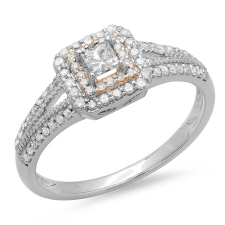 Dazzlingrock Collection 0.50 Carat (ctw) Two Tone Rose Gold Plated 14K Round Diamond Halo Ring 1/2 CT, White Gold, Size 5.5 14k Two Tone Gold Overlapping