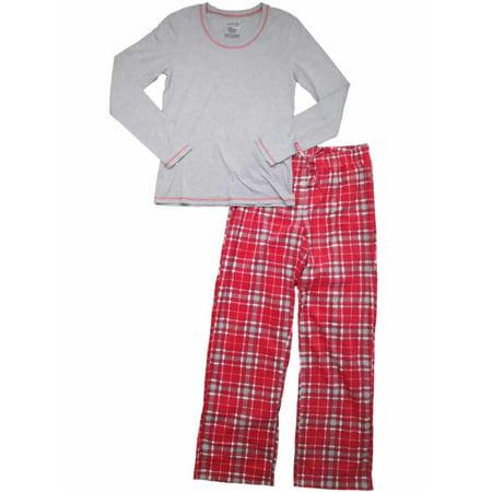 Womens Red White & Gray Tartan Plaid Pajamas Fleece Checker Christmas Sleep Set
