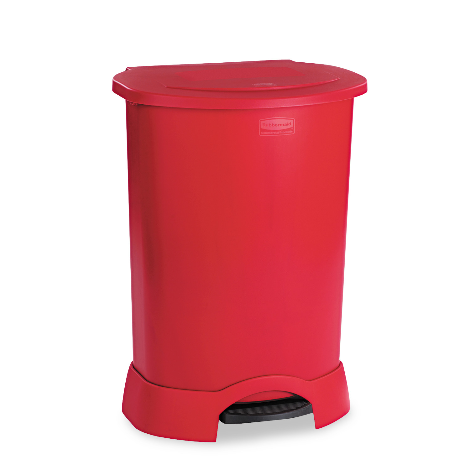 Rubbermaid Commercial Step-On Container, Oval, Polyethylene, 30gal, Red