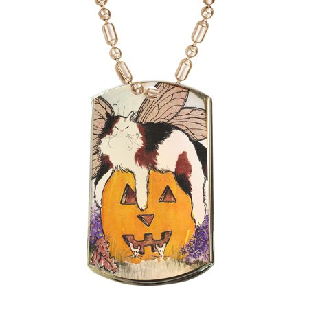 KuzmarK Gold Pendant Dog Tag Necklace - Calico Maine Coon Kitty Fairy with Jack O'Lantern and Mice Halloween Cat Art by Denise Every Gold Dog Tag (Halloween Cat Jack O'lantern)