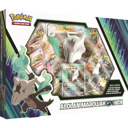 Pokemon Sun and Moon 10 Alolan Marowak GX Box- 4 Pokemon Trading Card Booster Packs | 1 foil + 1 oversize card featuring Alolan Marowak-GX - Trading Pokemon