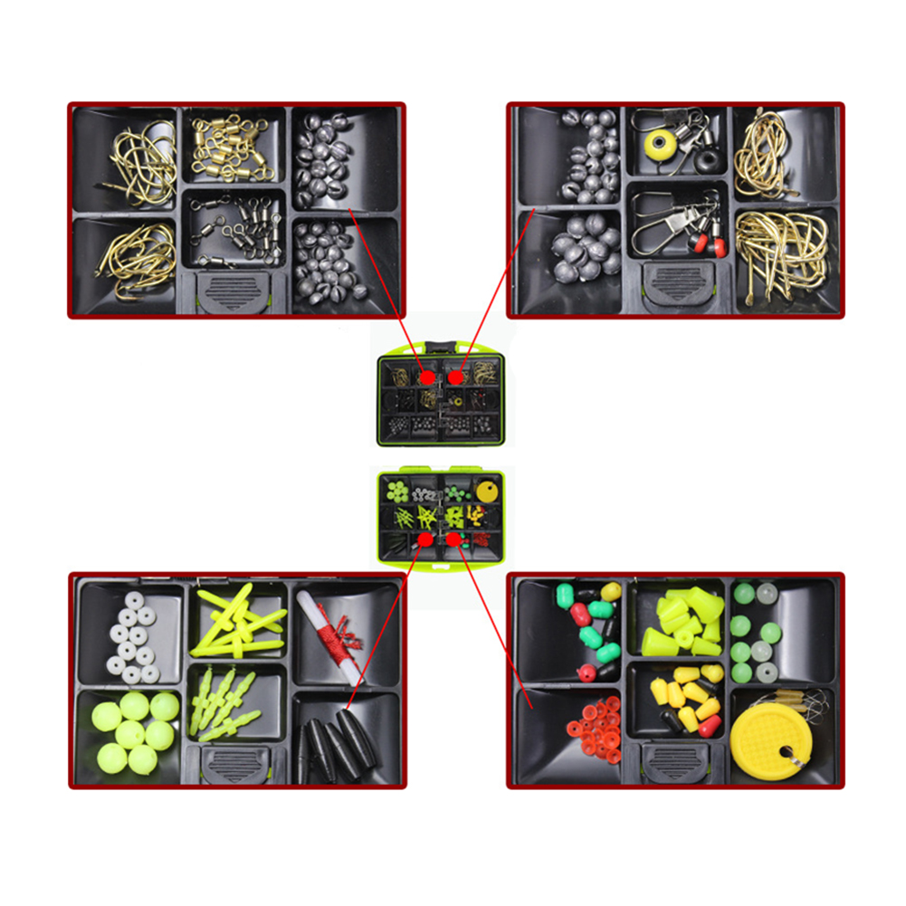 Rock Fishing Accessories 100Pcs 24 Kinds Fishing Tackle Kit Box Multifunctional Fishing Hook Gear with Tackle Box by