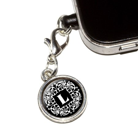 Letter L Initial Black and White Scrolls Mobile Phone Charm