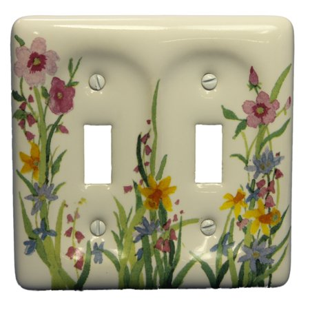 Leviton Wildflower Pattern Porcelain 2-Gang Wallplate Toggle Cover 89509-WFL - Ceiling Fan Cover Plate
