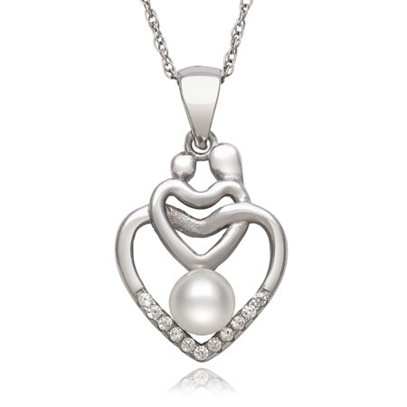 5-6mm Genuine White Cultured Freshwater Pearl Mother and Child Heart Pendant Necklace, 18
