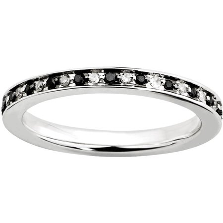 Black and White Diamond Sterling Silver Ring