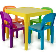 Den Haven Kids Table and Chairs Play Set Colorful Child Toy Activity Desk for Toddler Sturdy Plastic