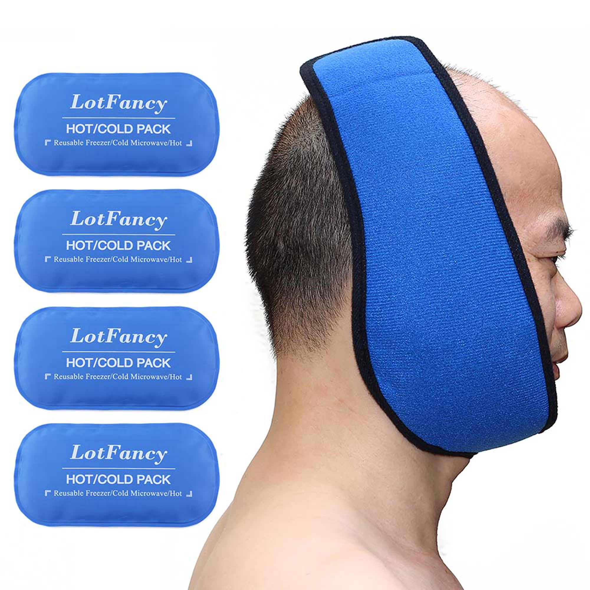 Reusable Hot or Cold Gel-Pack with Stretch Wrap, Pain Relief for TMJ, Jaw Oral and Facial Surgery, Dental Implants etc.
