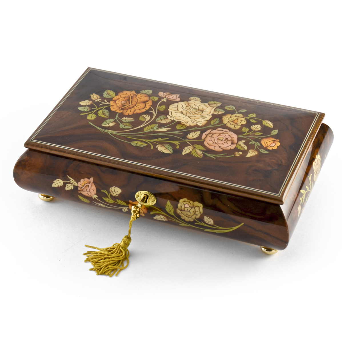 Enchanting Black Lacquer Single Red Rose with Gold Hardware Music Jewelry Box - It's Impossible - SWISS (+$45)