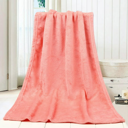 45*65CM Fashion Solid Soft Throw Kids Blanket Warm Coral Plaid Blankets -