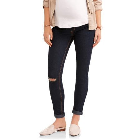 Maternity Full Panel Distressed Skinny Jeans - Available in Plus Sizes Distressed Denim Capris
