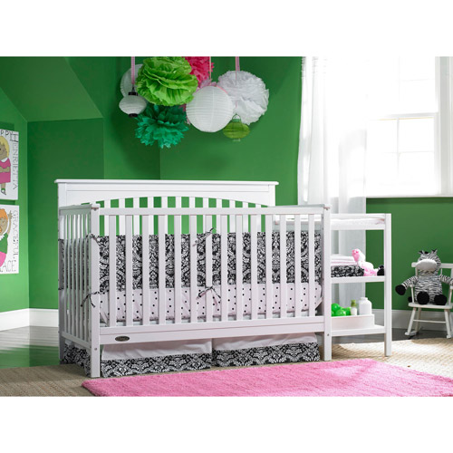 Graco - Woodbridge 4-in-1 Fixed-Side Crib and Changing Table Combo, White