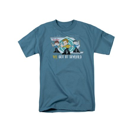 Star Trek Quogs Cartoon TV Kirk Spock McCoy We Got It Covered Adult T-Shirt (Star Trek Cartoon)