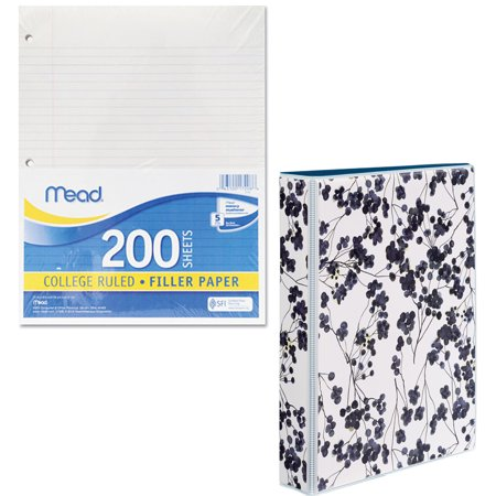 Mead Filler Paper, College Ruled, 3-Hole Punched, 11 x 8-1/2, 200 Sheets Per Pack and Avery Durable Mini Binder, 1