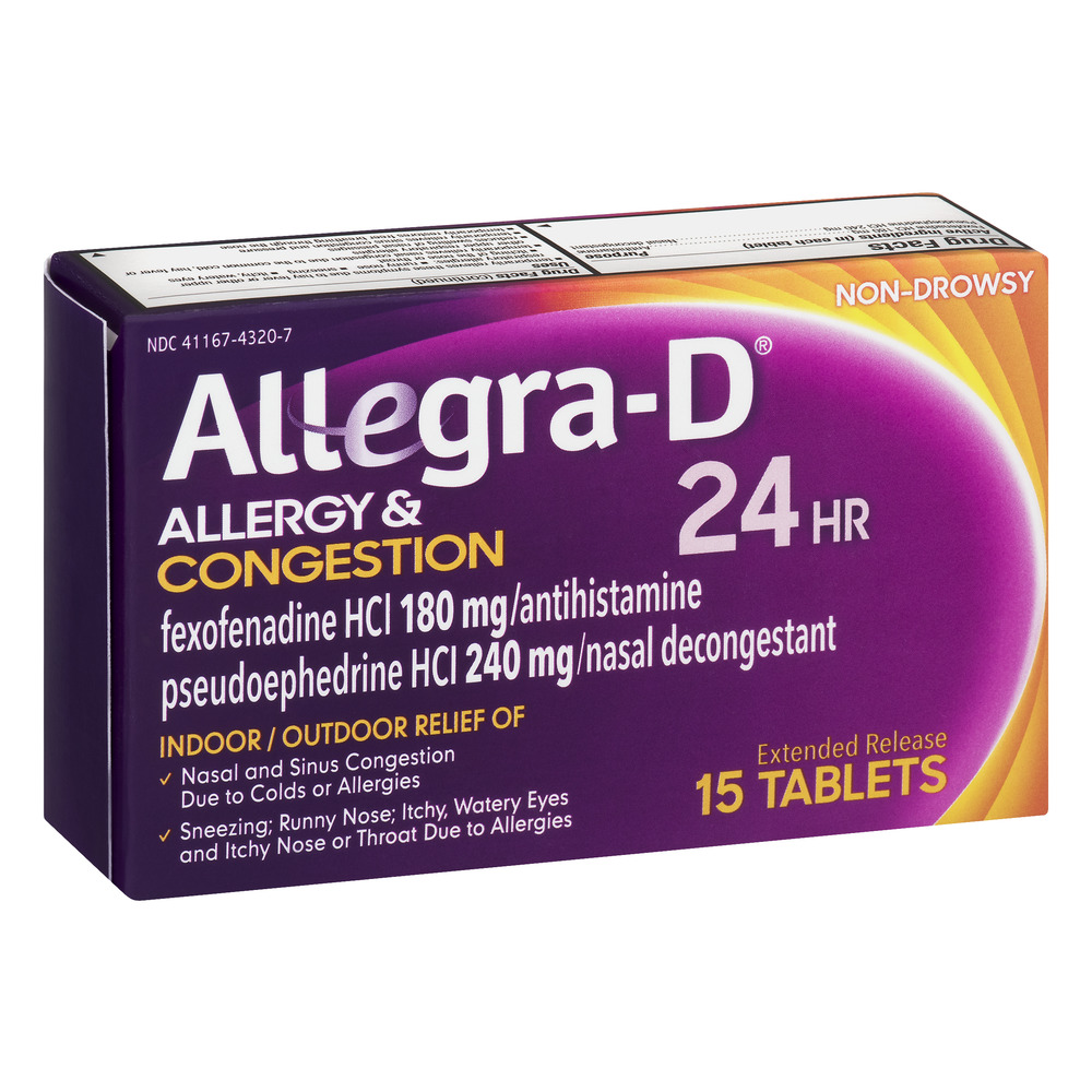 Fexofenadine hcl 180 mg 24 hour.doc - Allegra D Allergy Congestion 24hr Indoor Outdoor Tablets 15 Ct Walmart Com