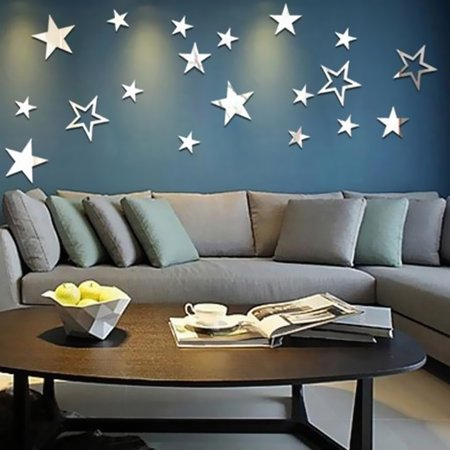 13Pcs/set Stars Sky Acrylic Mirror Removable Wall Sticker Home Art Decor Decal DIY with Double Side Tape Kit