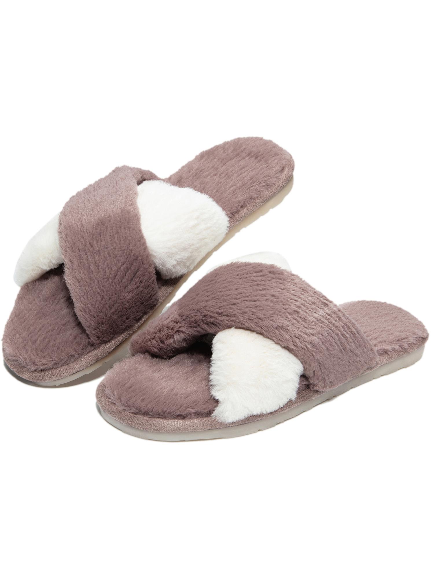 Fur Slippers Winter Autumn Open Toe Raccoon Fur Slides Beach Shoes Gradient Color Women Winter Furry Winter Slippers,Color,9