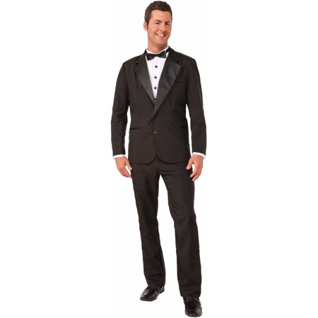 Adult Mens Formal Evening Gentlemens Attire Zip Up Black Suit And Tie Costume - 80s Attire Male