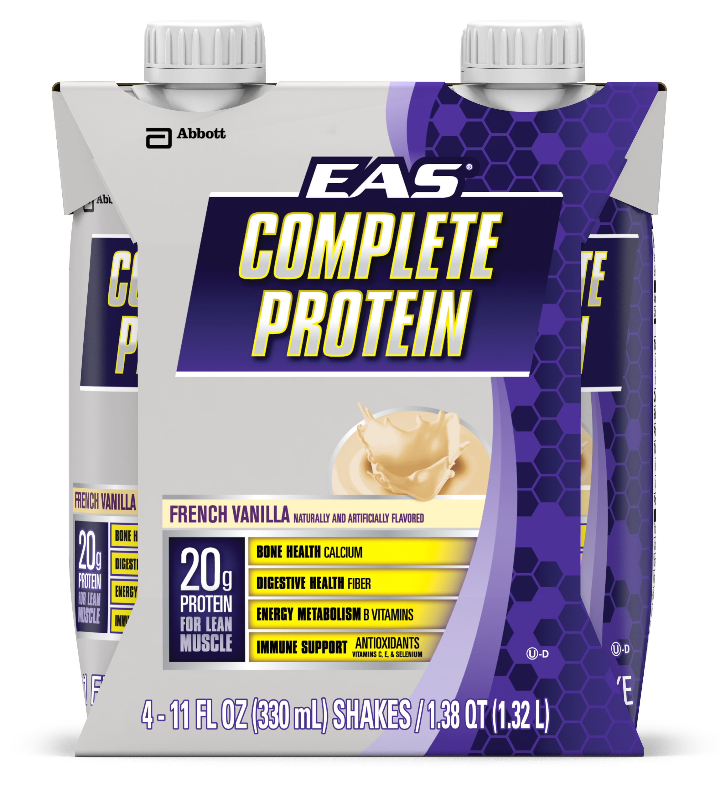 EAS Complete Ready-to-Drink Nutrition Shake, French Vanilla, 11 fl oz (Pack of 4)