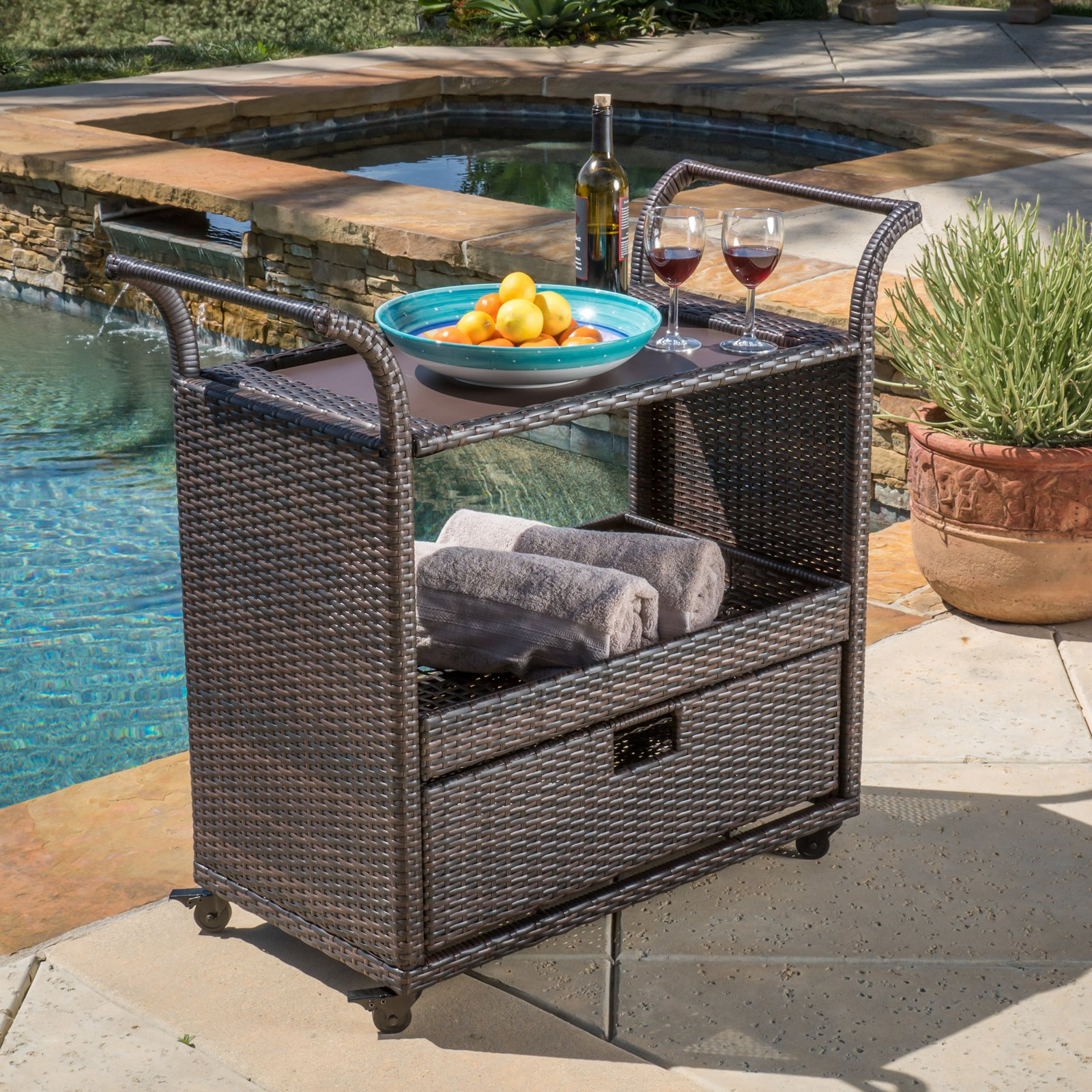 Rosarito Wicker Bar Cart