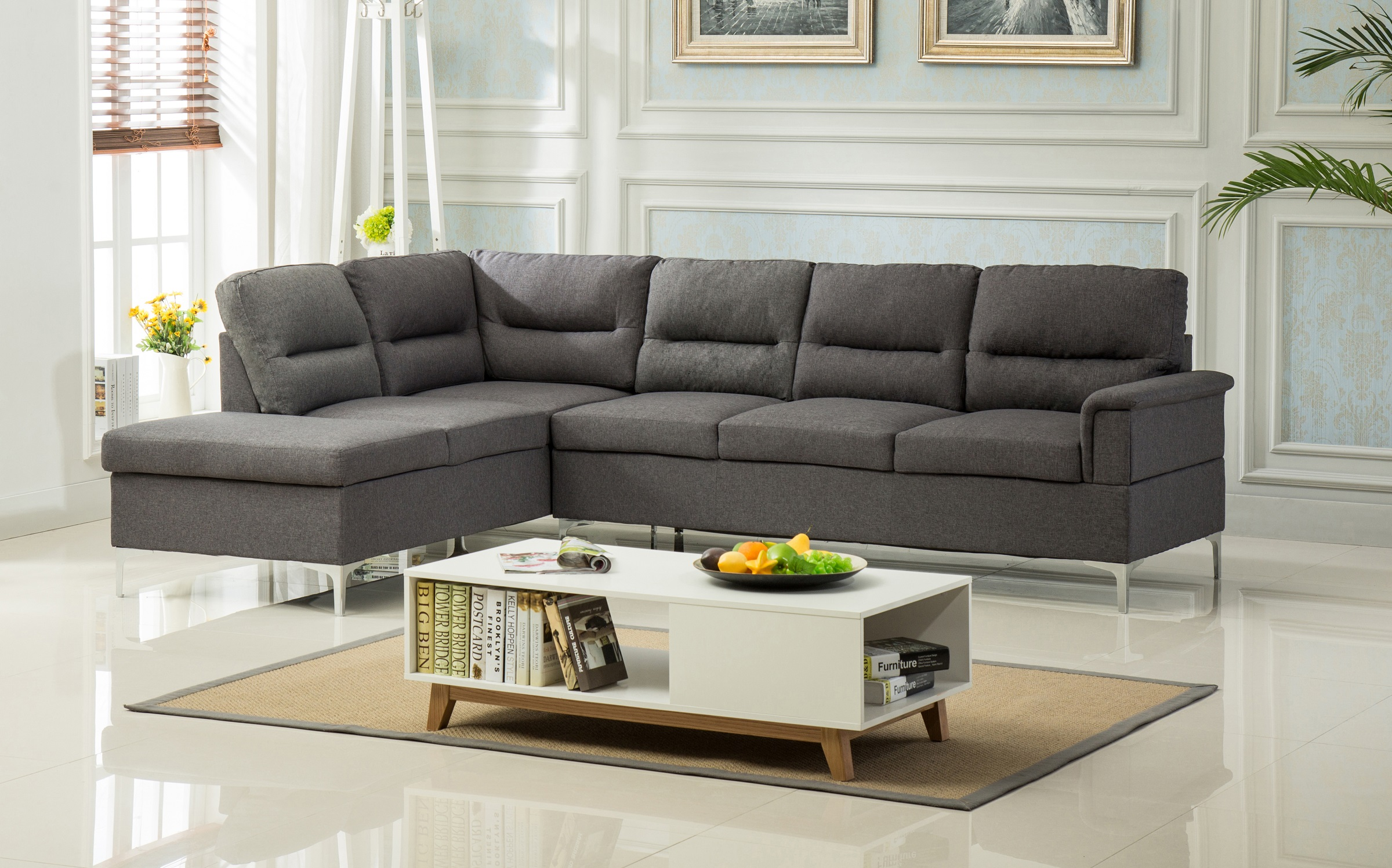 Modern Classic Living Room Furniture 2pc Sectional Sofa Set Grey Linen  Fabric Sofa Chaise Plush Cushion Couch