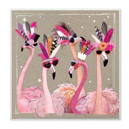 Fancy Pants 12 X 12 Stamps (The Stupell Home Decor Collection Fancy Pants Flamingos Wall Plaque Art, 12 x 0.5 x 12)