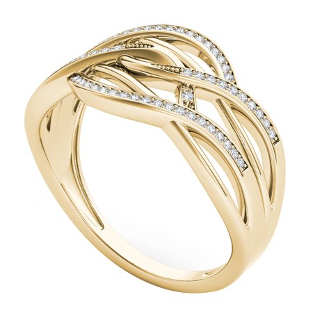 10k Yellow Gold 0.15CT Natural Round Cut Diamond Ribbons Promise Ring Size 6.5