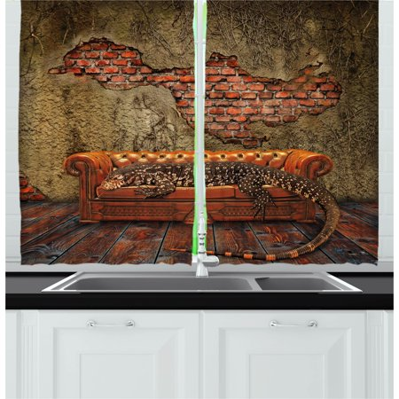Fantasy Curtains 2 Panels Set, Decadence Grunge Ruin Brick Wall and a Giant Lizard on the Sofa Surreal Art, Window Drapes for Living Room Bedroom, 55W X 39L Inches, Vermilion (Decadence Set)