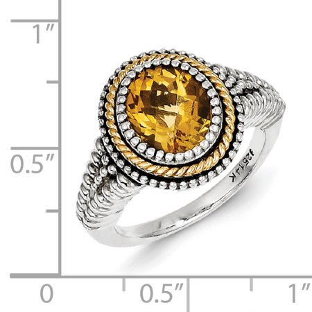 Sterling Silver Two Tone Silver And Gold Plated Sterling Silver w/Citrine Ring - image 1 de 3