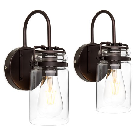 - Best Choice Products Set of 2 Industrial Metal Hardwire Wall Light Lamp Sconces w/ Clear Glass Jar Shade - Bronze